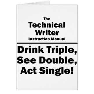 technical writer note card