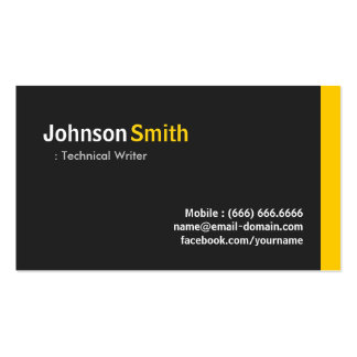 Technical Writer - Modern Minimalist Amber Business Card Templates