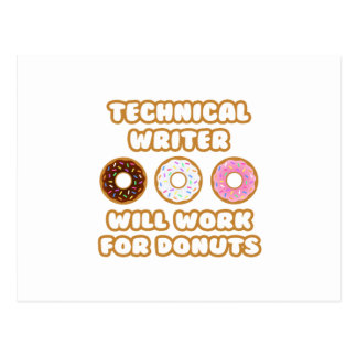 Technical Writer .. Will Work For Donuts Postcard