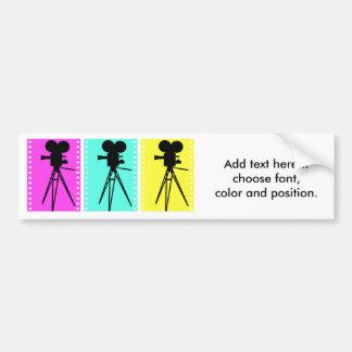 Technicolor Film Strip and Camera Silhouette Bumper Sticker