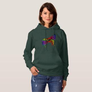 Technicolour Wolf Design Hoodie