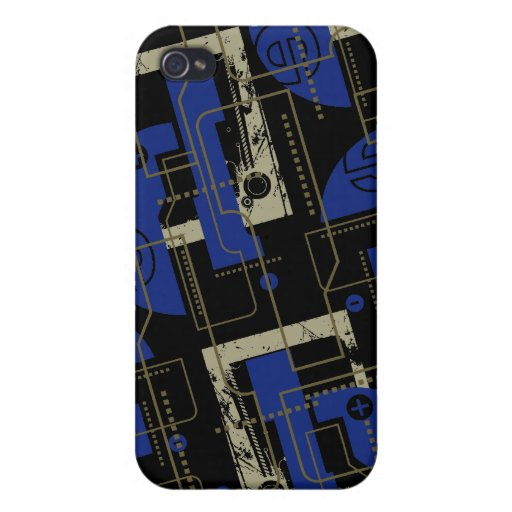 Techno Blue on Black i iPhone 4/4S Cover