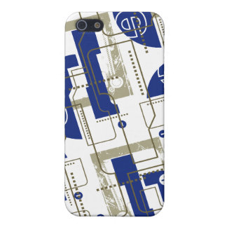 Techno Blue on White i Cases For iPhone 5