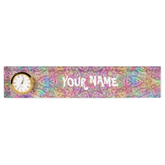Techno Colors Pattern Desk Nameplate with Clock