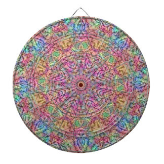 Techno Colors Pattern Metal Cage Dartboard