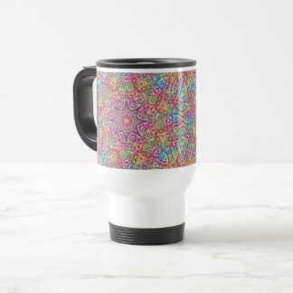 Techno Colors Vintage Kaleidoscope Travel Mug