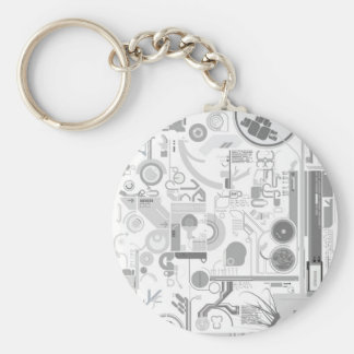 techno computer chip hard drive vector experiment  basic round button key ring