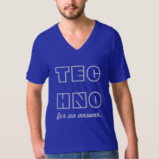 TECHNO for an answer - Mens VNeck Blue Tshirt
