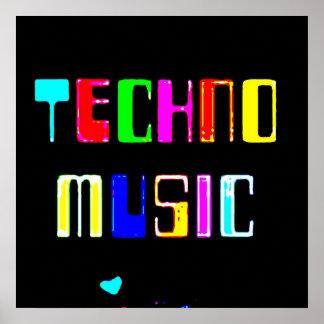 Techno Music heart Poster