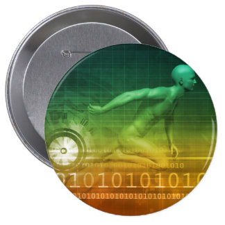 Technology Evolution with Man Evolving with System 10 Cm Round Badge