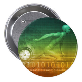 Technology Evolution with Man Evolving with System 7.5 Cm Round Badge