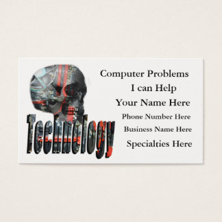 Technology Logo And Computer Skull, Business Card