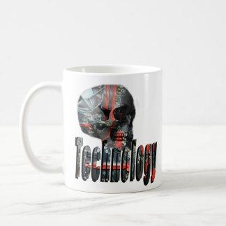 Technology Minded Skull Logo, Coffee Mug