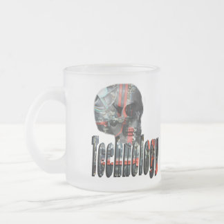 Technology Minded Skull Logo , Frosted  Mug. Frosted Glass Coffee Mug