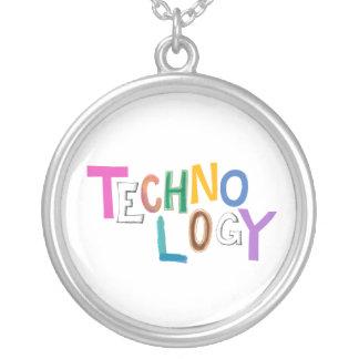 Technology modern word art tech geek fun colorful round pendant necklace