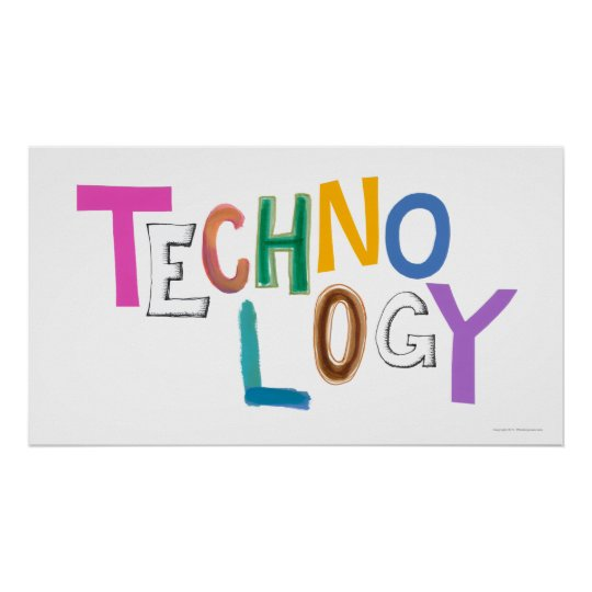 technology modern word art tech geek fun colourful poster zazzle