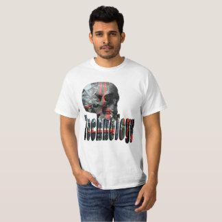 Technology Skull Head And Logo, Mens White T-shirt