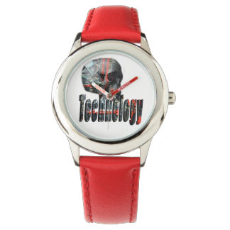 Technology Skull & Logo Kids Red Leather Watch