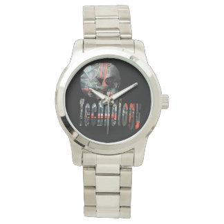 Technology Skull & Logo Large Unisex Silver Watch