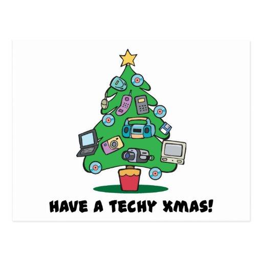 techy electronics chrismas tree postcard