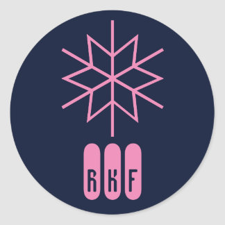 Techy Pink Monogram Christmas Sitckers Classic Round Sticker