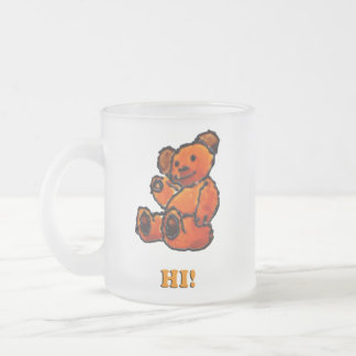 Ted hi/bye frosted glass coffee mug