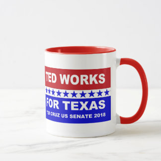 Ted works for Texas red white and blue design. Mug