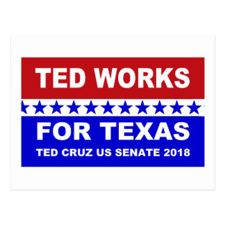 Ted works for Texas red white and blue postcard