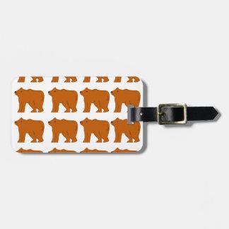 Teddies design on white luggage tag
