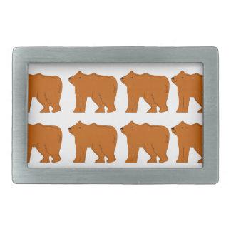 Teddies design on white rectangular belt buckle