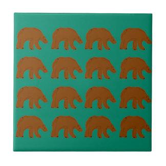 Teddies on Mint edition Ceramic Tile