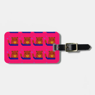 Teddies pink design luggage tag