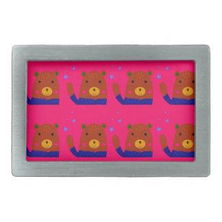 Teddies pink design rectangular belt buckle