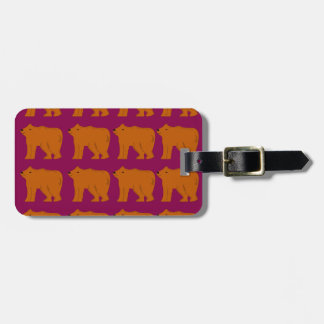 Teddies polar on pink luggage tag