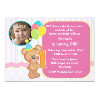 Teddy Bear 1st Birthday Photo 13 Cm X 18 Cm Invitation Card