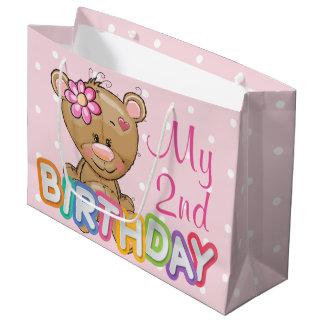 Teddy Bear 2nd Birthday Party Custom Large Gift Bag