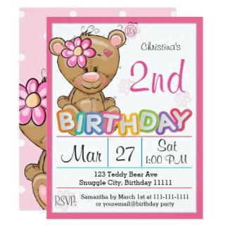 Teddy Bear 2nd Birthday Party  Invitation