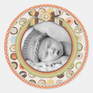 Teddy Bear 3D-look Bow & Button Birth Announcement Round Sticker