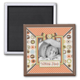 Teddy Bear 3D-look Bow & Button Birth Announcement Square Magnet