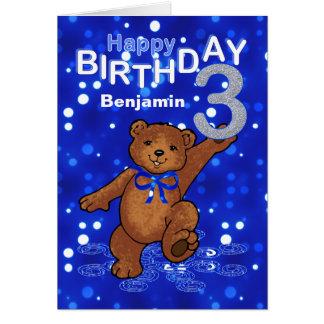 Teddy Bear 3rd Birthday for Boy Card