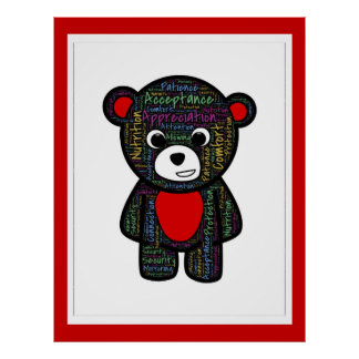 teddy-bear-487277 TEDDY BEAR CARTOON TYPOGRAPHY PA Poster