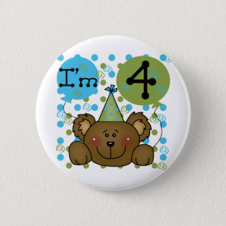 Teddy Bear 4th Birthday T-shirts and Gifts 6 Cm Round Badge
