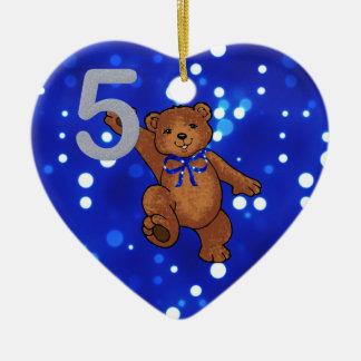 Teddy Bear 5th Birthday for Boy Ceramic Heart Decoration