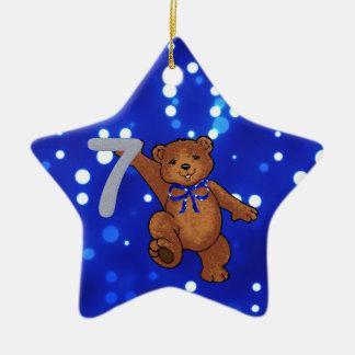 Teddy Bear 7th Birthday for Boy Ceramic Star Decoration