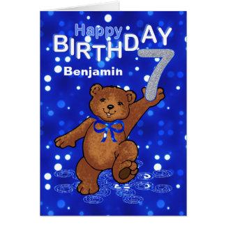 Teddy Bear 7th Birthday for Boy Greeting Card