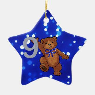 Teddy Bear 9th Birthday for Boy Ceramic Star Decoration
