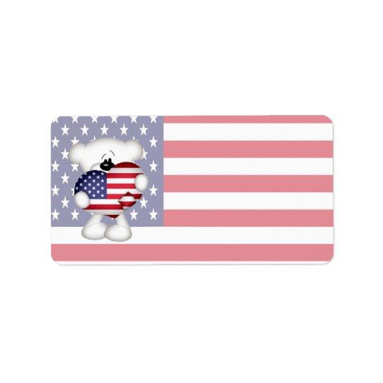 Teddy Bear and Big USA Flag Heart Address Label