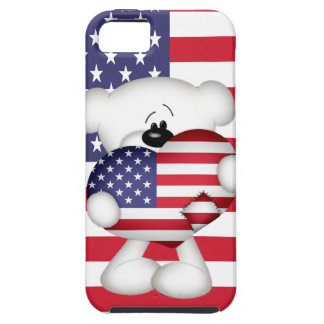 Teddy Bear and Big USA Flag Heart Case For The iPhone 5