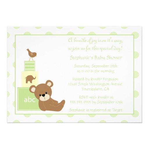 Teddy bear and bird neutral baby shower invitation