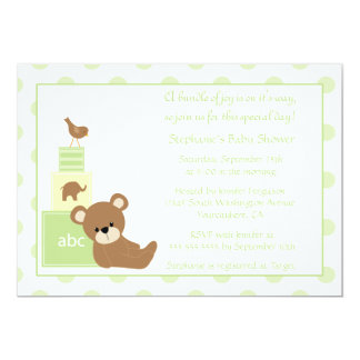 Teddy bear and bird neutral baby shower invitation